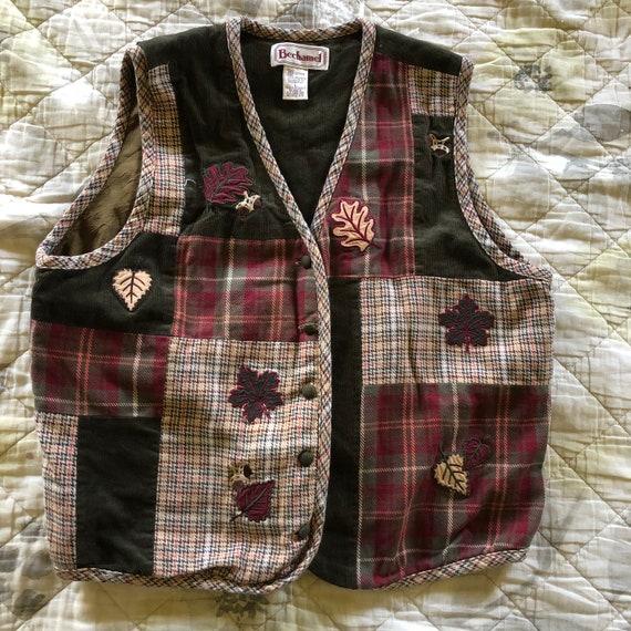 Vintage 90s Autumn Vest, Vintage Catalog Vest, Vin