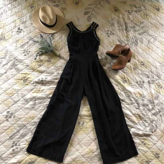 Vintage Black Wide Leg Sleeveless Jumpsuit, Vintag