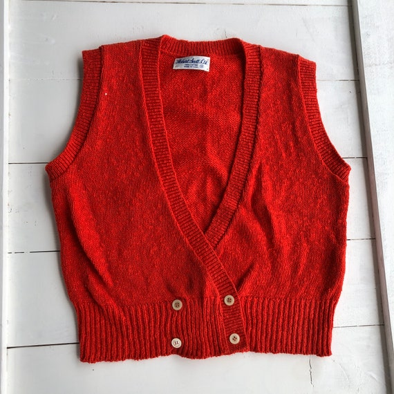 Vintage Red Sweater Vest, Vintage Sweater Vest, 50