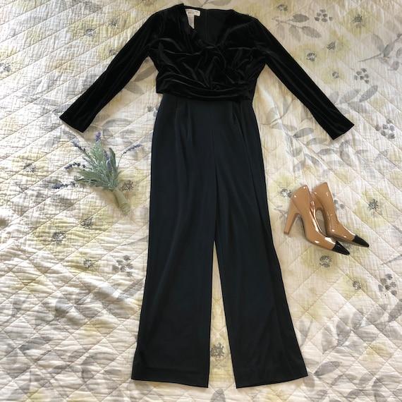 Vintage 90s Formal Velvet Black Jumpsuit, 90s Velv