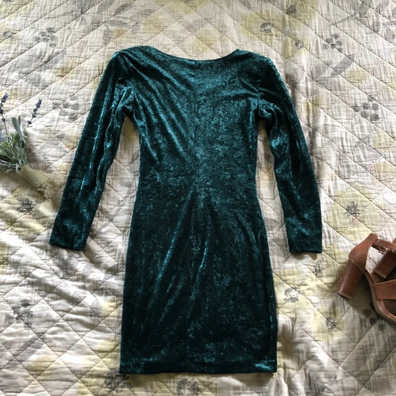 Vintage Emerald Green Crushed Velvet Mini Dress,V… - image 3