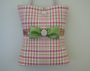 Tote Bag / Houndstooth Bag / Shoulder Purse, Handmade from Upholstery Fabric in Pastel Colors and Decorated with a Ribbon, Bow and Pearls