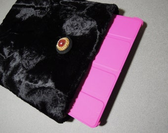 iPad Case, iPad Cover, iPad Sleeve - Cozy and Elegant - Handmade from Padded Soft Faux/Synthetic Fur Fabric in Shiny&Flat Rich Black Color