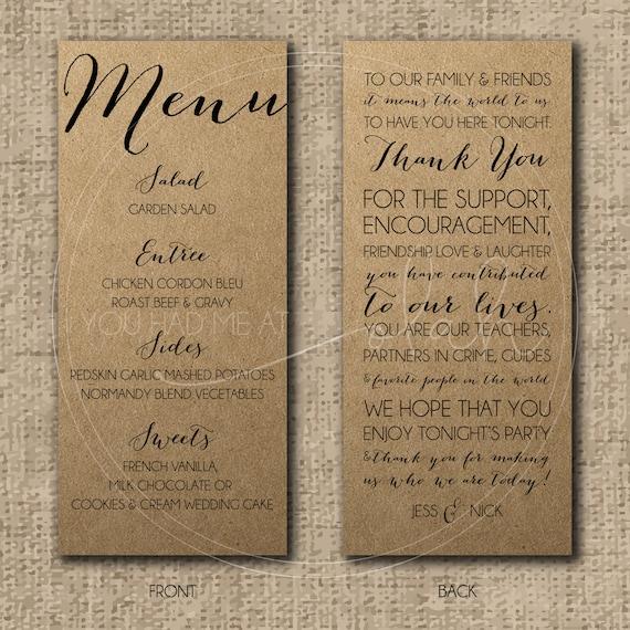 Custom/Printable PDF Wedding Menu & Thank You