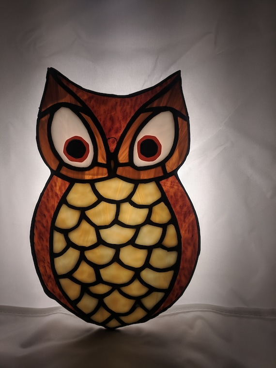 Leadlight look owl sun catcher window cling