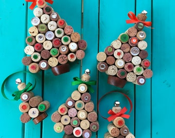 Christmas Tree Upcycled Wine Cork Decoration Holiday Decor or Ornaments