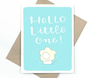 new baby card  -  hello little one - blue