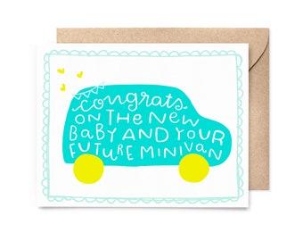 funny new baby card - minivan