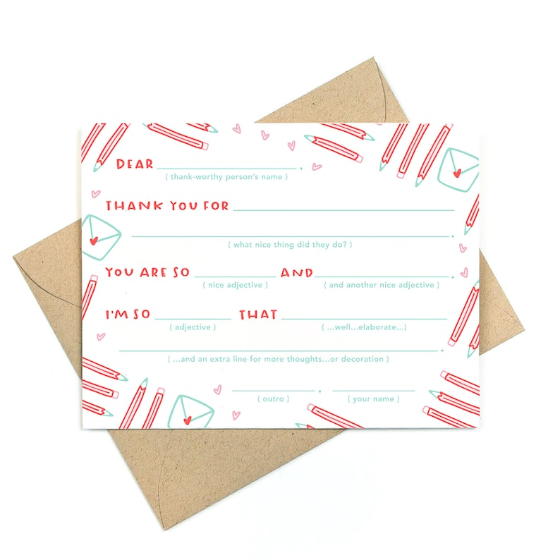 snail mail fill-in-the-blank - set of 5 notes