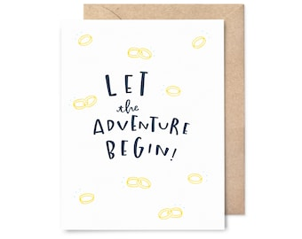 engagement card - wedding card - let the adventure begin bands