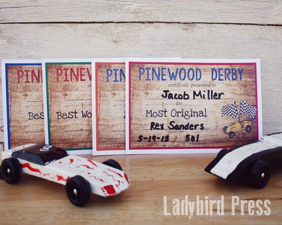 Printable Pinewood Derby Certificates Cub Scout