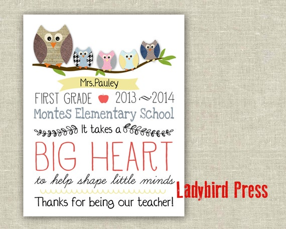 Personalised Teachers Day Gifts For Teachers Leaving Big Heart Wall Prints #03