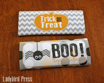 Printable Halloween Candy Bar Wrappers - Instant download