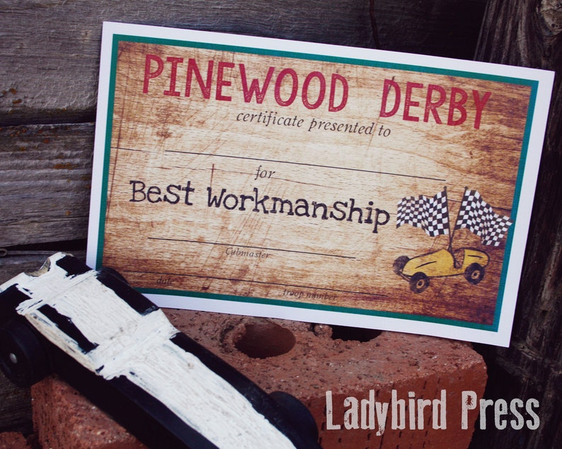 photograph relating to Free Printable Pinewood Derby Certificates called Printable Pinewood Derby Certificates - Cub Scout - Pinewood Derby - Award - Pack Convention - Prompt Down load - PDF