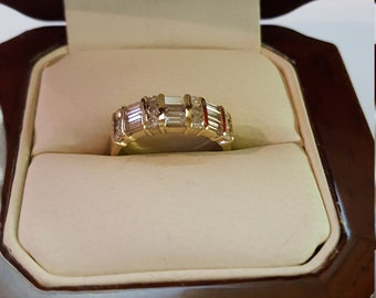 Vintage Gold and Diamond Ring w/9 Baguette Diamonds