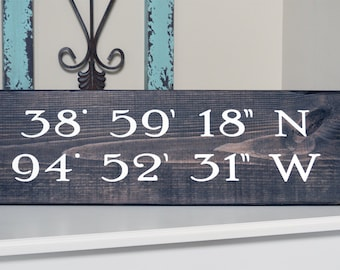 Custom Coordinates Sign, Longitude Latitude Sign, Custom Farmhouse Sign, Painted Wood Sign, Lakehouse Sign