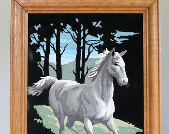Vintage  Horse Paint by number black velvet