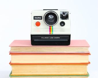 Vintage Polaroid One Step Camera, white rainbow stripe