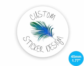 Custom Stickers 45mm Circle (1.77 inches) White Gloss Custom Labels for Product Labels, Wedding Stickers, Packaging Stickers