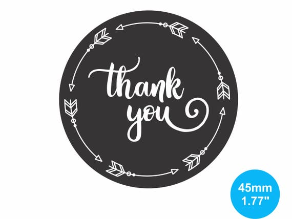 Thank You Stickers Labels Black Round Stickers 45mm Circle Etsy