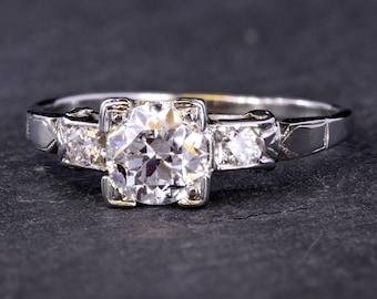 Vintage European Cut Diamond 18 Kt White Gold Ring