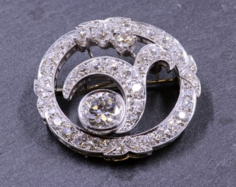 5.5cttw, Antique Platinum and Diamond Brooch and Pendant
