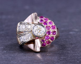 Art Deco Diamond and Ruby 14 Kt Yellow Gold Ring