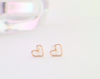 Tiny open heart gold earrings - heart studs - heart earrings - heart wire earrings - heart post earrings -gold filled -sterling silver