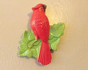 Vintage RED Canary Bird Wall Art.. Chalkware Bird. Vintage Plaque Nature 70s 60s Home Decor Bird Lovers RETRO