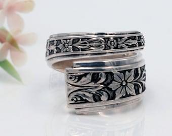 Sterling Silverware Jewelry Sterling Spoon Ring 1939 Vintage Spoon Ring mcfS111 Splendor Sterling Silver Spoon Ring Floral Spoon Ring