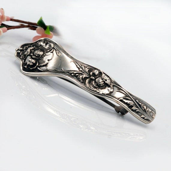 Silverplate Spoon Handle Hair Barrettes ~ Small