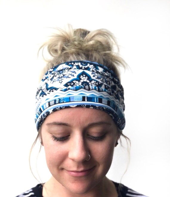 The WIDEBAND Women s Wide Headband Boho Headwrap Blue  7941903d147