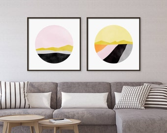 Set of 2 Prints, Large Abstract Art, Wall Art Set, Office Decor, Wall Art Prints, Modern Art, Large Wall Art, Gift for Her, Pink Wall Decor