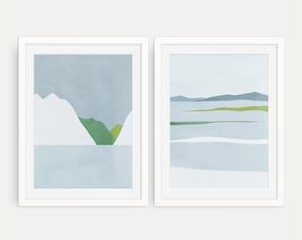 Set of 2 Prints, Abstract Wall Art, Bedroom Wall Decor, Light Blue Wall Art, Gallery Wall Print Set, Serene Wall Art, Winter Landscapes