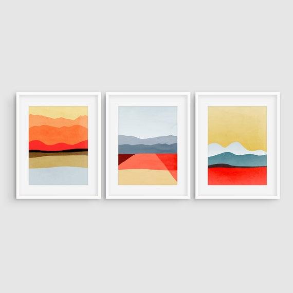 Mitte Jahrhundert Moderne Kunst Abstrakte Kunst Set Aus 3 | Etsy
