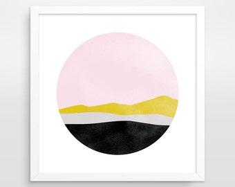 Scandinavian Art Minimalist Art Mid Century Modern Pink Wall Art Pink Abstract Art Office Decor Pastel Art Abstract Landscape