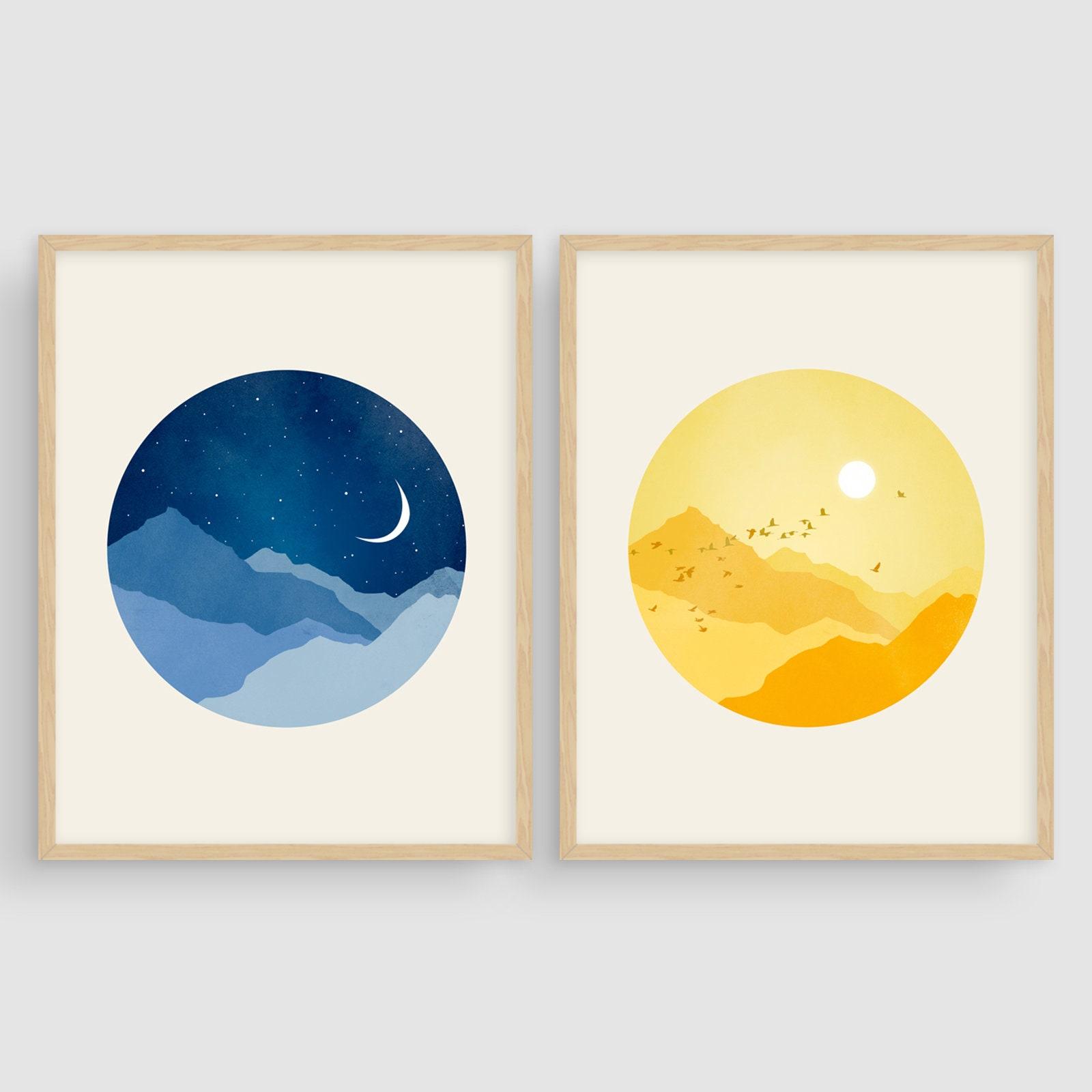 sun and moon nursery art print scandinavian nursery prints set etsy. Black Bedroom Furniture Sets. Home Design Ideas