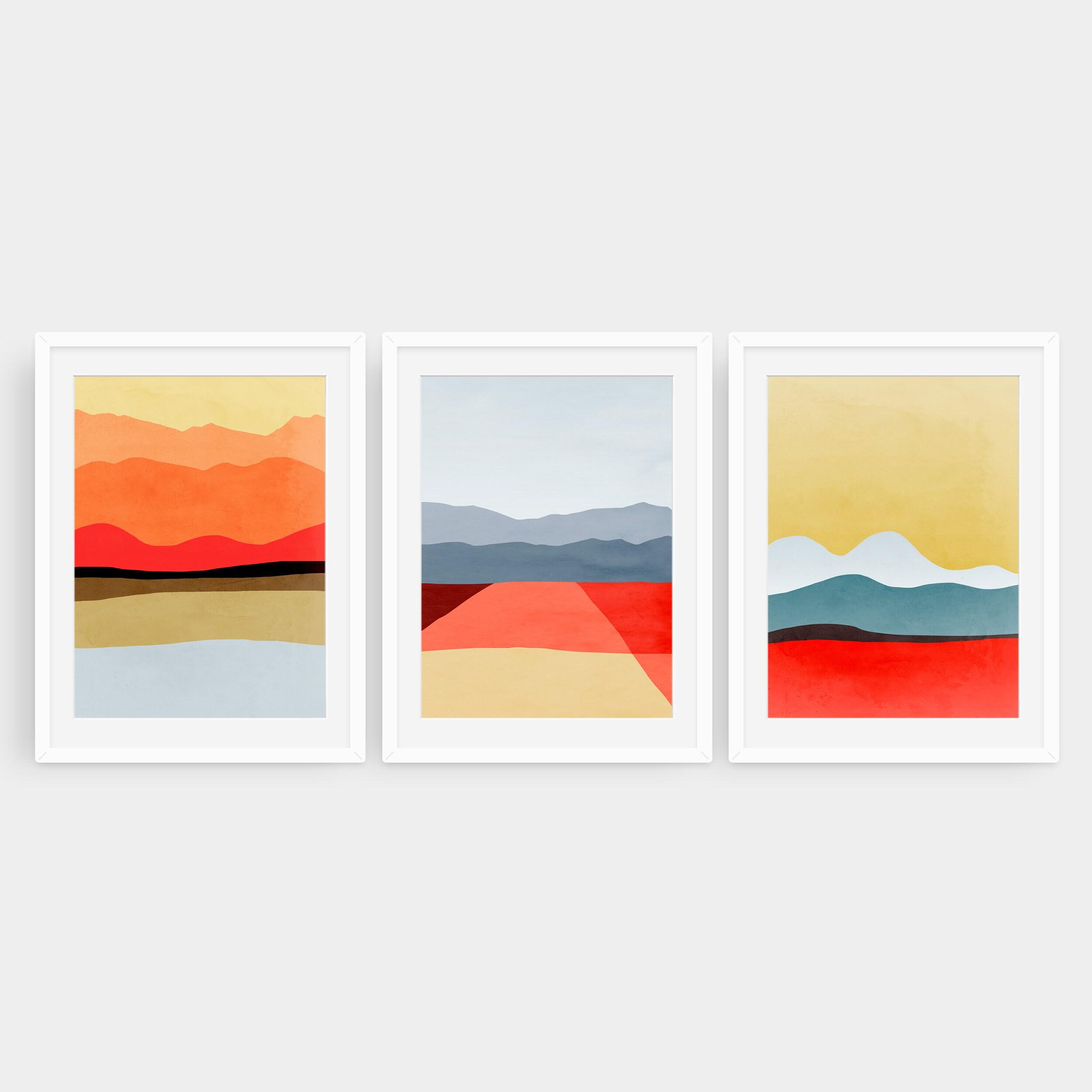Mid Century Modern Art, Abstraktes Kunst Set von 20 Drucken, Wandkunst Set  von 20 Abstrakten, Druck Set von 20, Wohnzimmer Wand Dekor, Rot  Minimalistisch ...