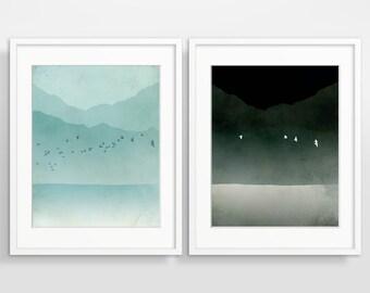 Modern Art Print Set of 2, Teal Wall Art, Minimalist Art, Scandinavian Print, Large Wall Art Set, Modern Abstract Art, Nordic Art Prints