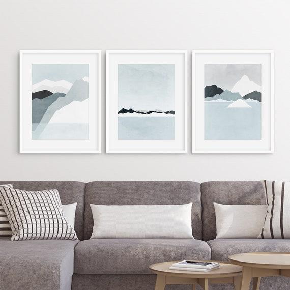 Wall Art Set Of 3 Prints, Mountain Abstract Landscape Prints, Blue Wall Art, Minimalist Art, Modern Wall Art Prints, Winter, Iceland by Etsy