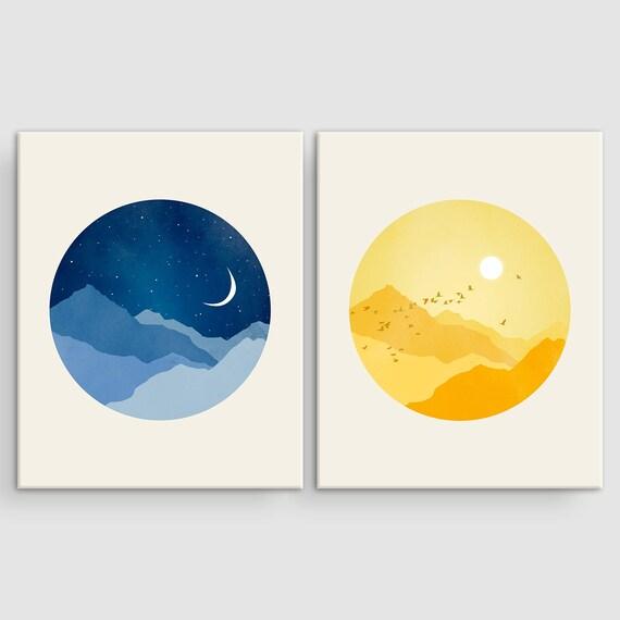 sun and moon nursery canvas art set of 2 prints scandinavian etsy. Black Bedroom Furniture Sets. Home Design Ideas