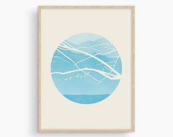 Blue Wall Art, Scandinavian Print, Mid Century Modern Art, Wall Decor Living Room, Nature Print, Tree Print, Large Wall Art Bedroom, Teal