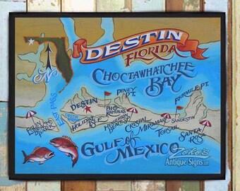 Destin florida map   Etsy