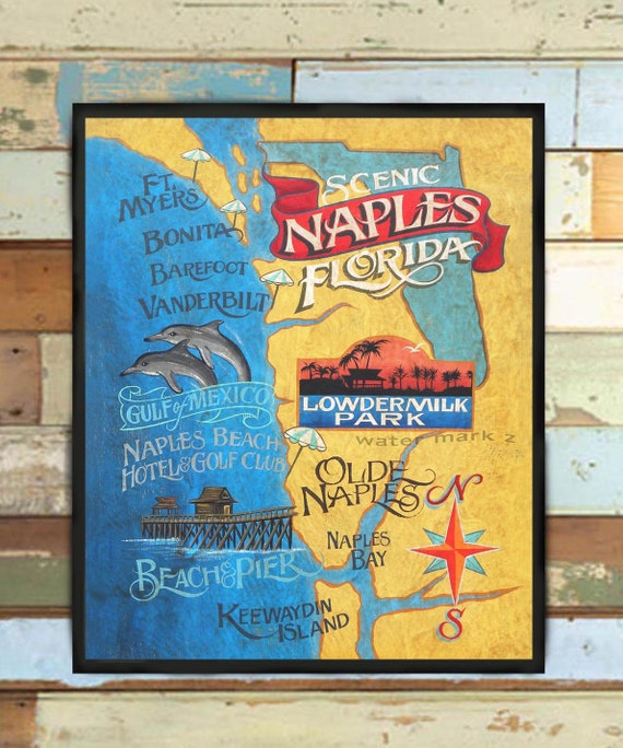 Naples Florida Map.Naples Florida Beach Map Print From An Original Hand Painted Etsy