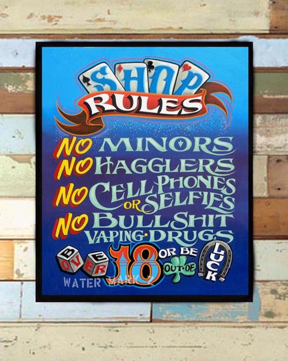 Tattoo Shop Rules Policy Print from an original hand ...