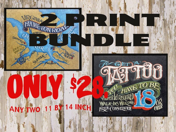 Zeke/'s  2  Print-Poster  Bundle  decor print  vintage looking  sale savings USA