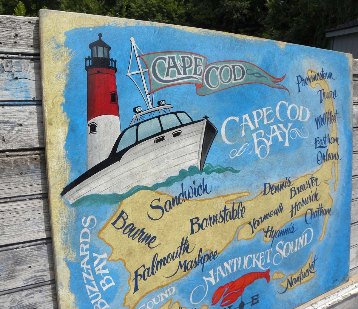 Eastham Cape Cod Map: Sign Cape Cod Retro Style Map Sign Nauset Light Eastham