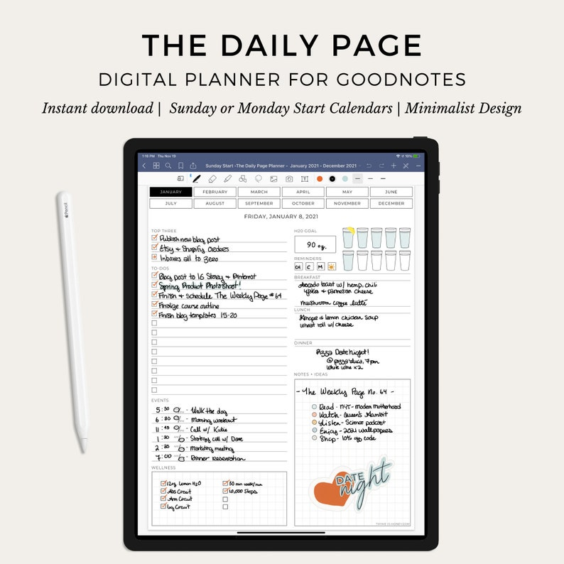 The Digital Daily Page Planner for Goodnotes by Thyme is Honey image 0