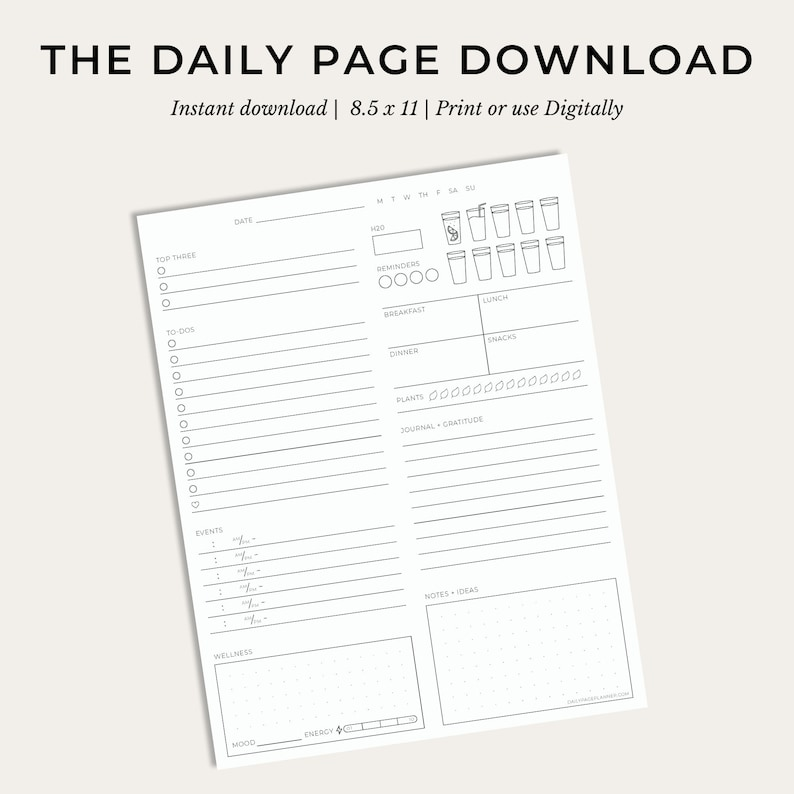 The Daily Page Digital Download  Eco-Conscious Holistic image 0