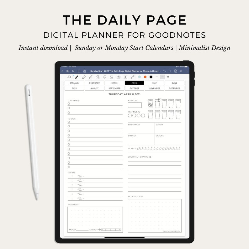 The Digital Daily Page Planner for Goodnotes  Holistic image 0